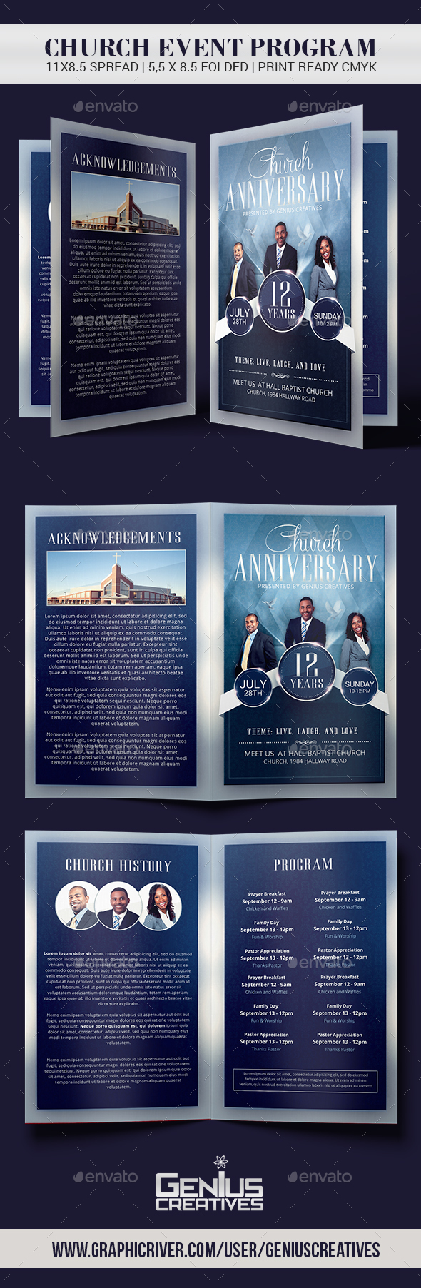 Church Anniversary Church Program - Informational Brochures