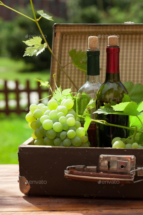 White grape, bottles of wine