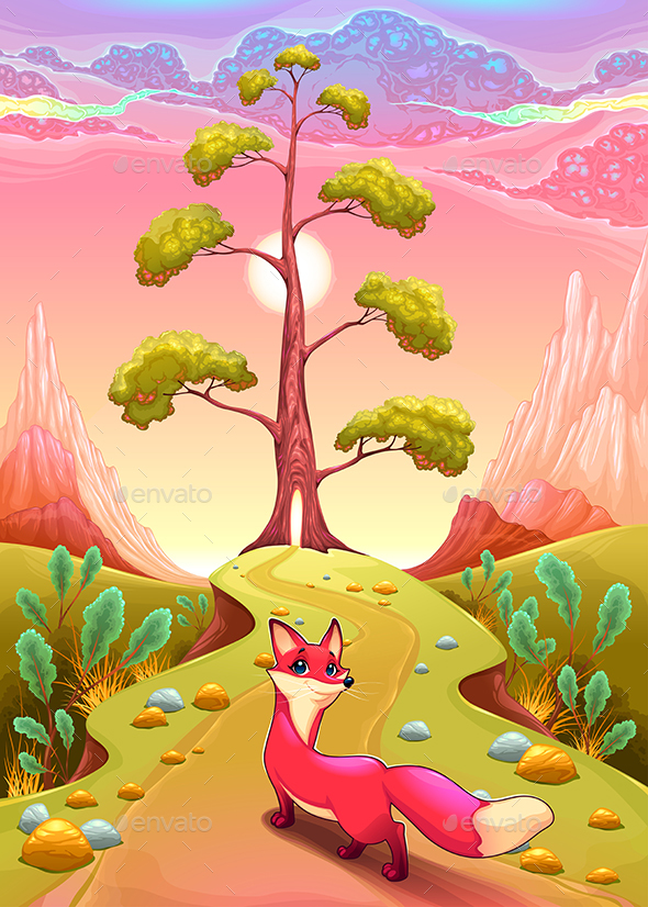 Landscape in the Sunset with Fox - Animals Characters