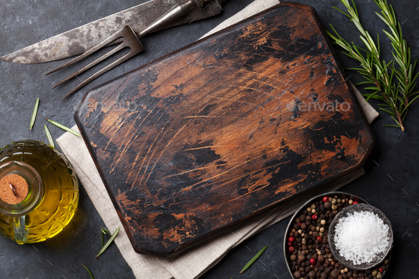 Cooking ingredients and utensils on stone table