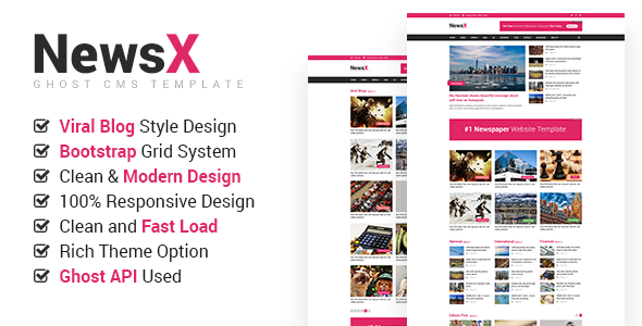 NewsX - Responsive News, Magazine, Viral Blog Ghost Theme