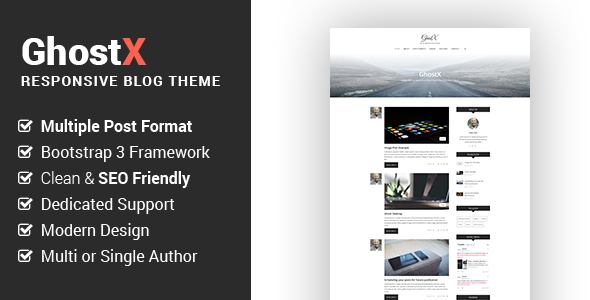 Ghostx - Minimal Responsive Blogging Theme - Ghost Themes Blogging