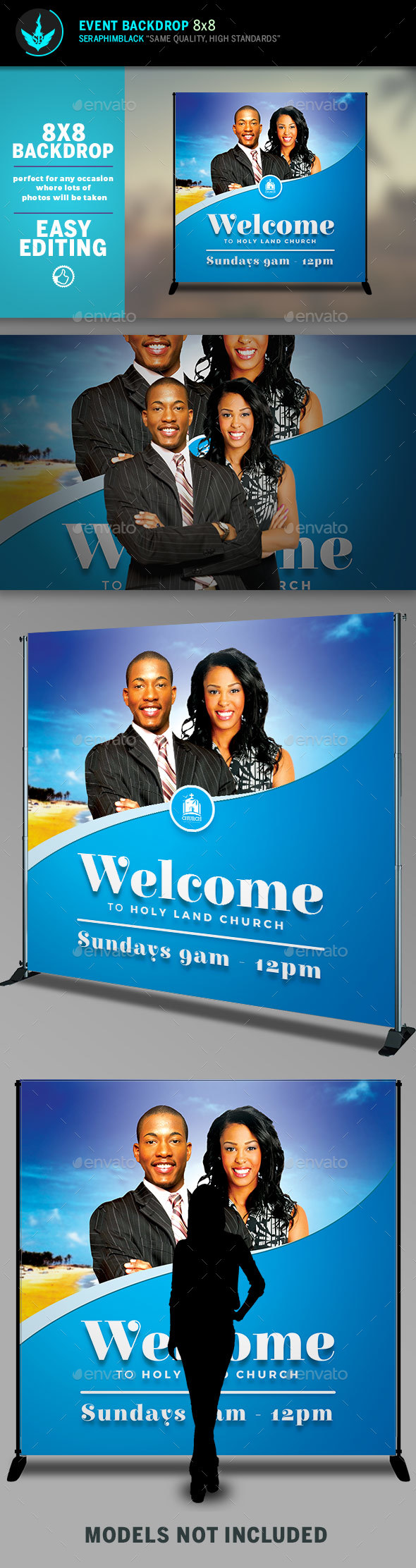 Church Welcome 8x8 Event Backdrop Template - Signage Print Templates