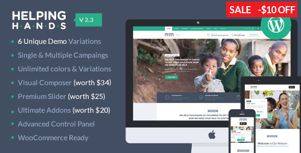 HelpingHands - Charity, Fundraising, Church, NGO, Non Profit WordPress Theme