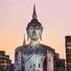 Detail of sitting Buddha at colorful sunset, Sukhothai, Thailand - PhotoDune Item for Sale