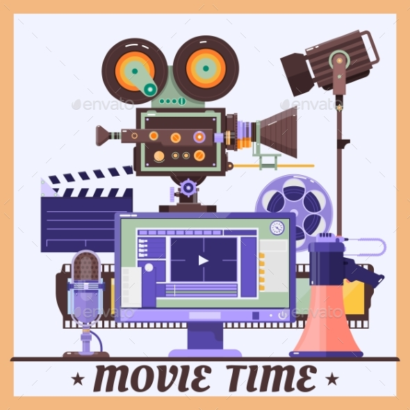 Retro Cinema Concept Poster - Miscellaneous Vectors