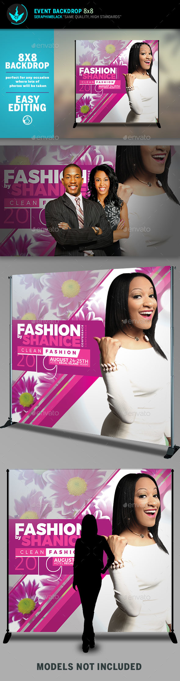 Fashion Conference 8x8 Event Backdrop Template - Signage Print Templates