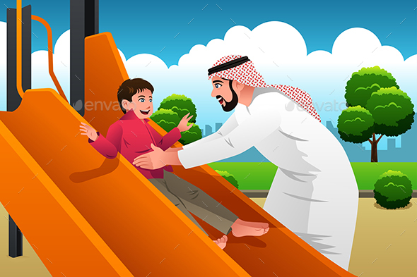 GraphicRiver Muslim Arabian Man with His Child in the Playground 20485071