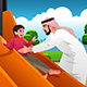 Muslim Arabian Man with His Child in the Playground - GraphicRiver Item for Sale