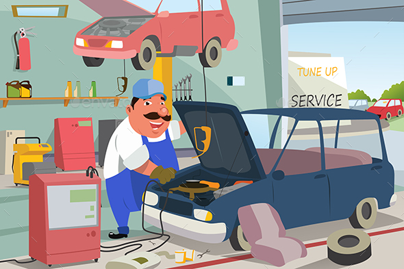 Auto Mechanic Fixing a Car in the Garage - People Characters