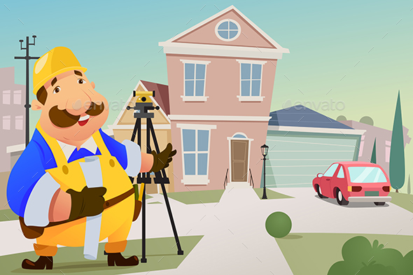 Contractor Standing in Front of a House - People Characters