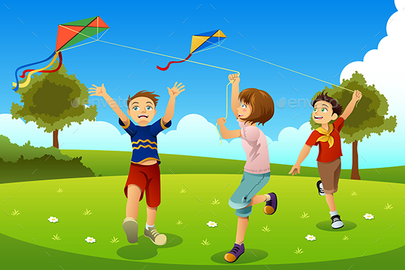 Kids Flying Kites in a Park - People Characters