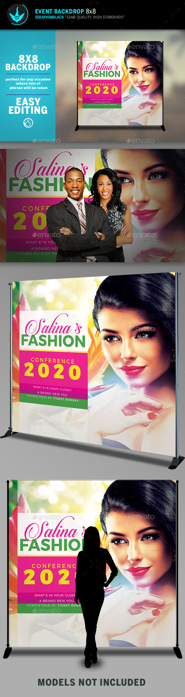 Fashion Conference 2 8x8 Event  Backdrop Template - Signage Print Templates