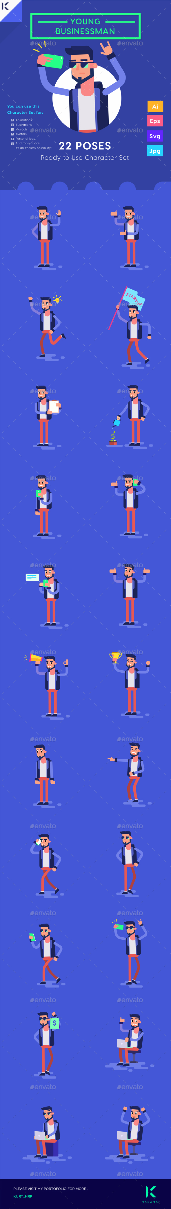 GraphicRiver Character set Young Businessman Millennials Startup with Smartphone 20472006