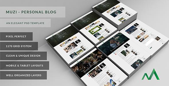 Muzi - An Elegant Personal Blog - Personal PSD Templates