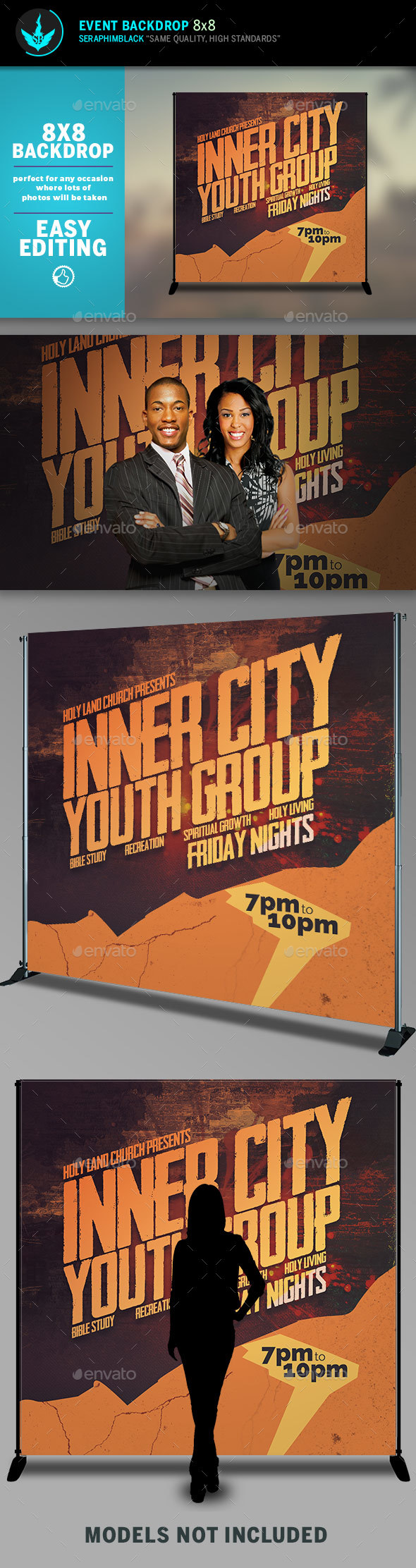 Inner City Youth Group 8x8 Event Backdrop Template - Signage Print Templates