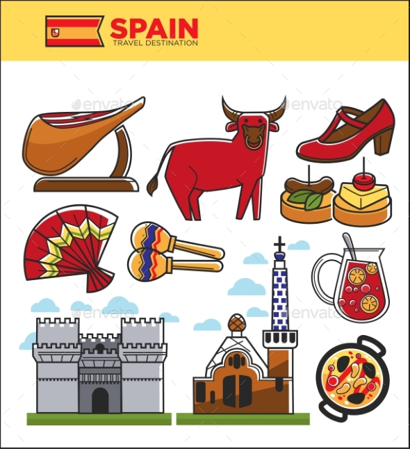 Spain Travel Famous Landmark Symbols and Spanish - Animals Characters