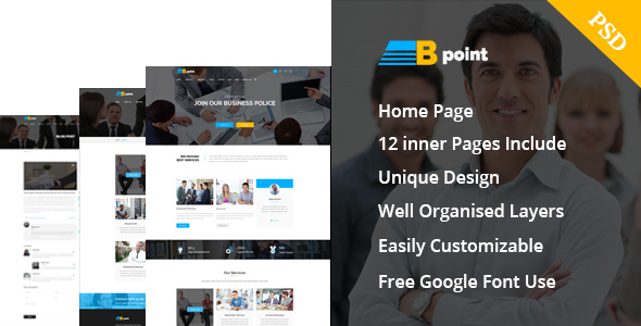 B - Point :Corporate Business and  Consulting Psd  Template - Business Corporate