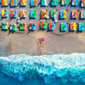Aerial view of lying woman with swim ring in the sea