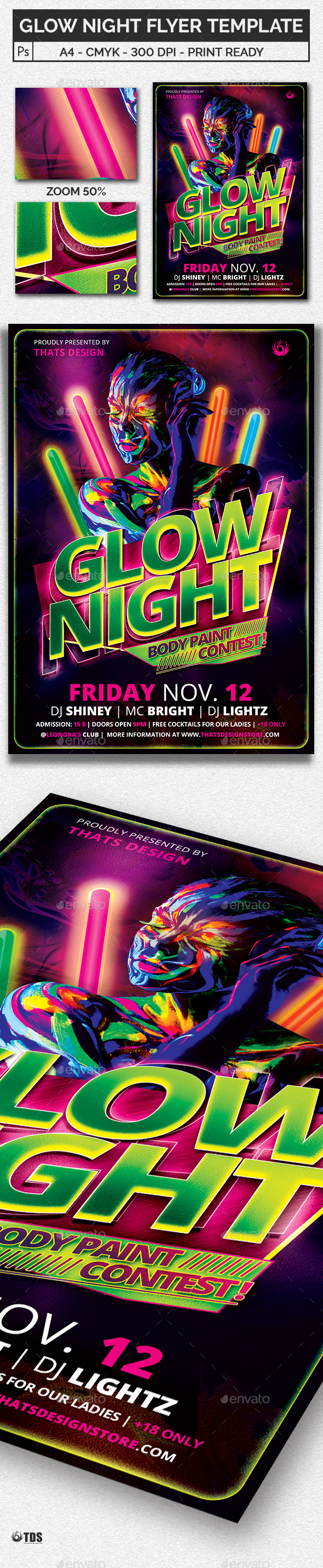 Glow Night Flyer Template - Clubs & Parties Events