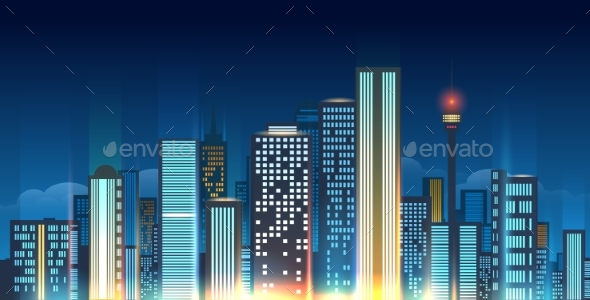 Night City Skyline Illustration - Buildings Objects