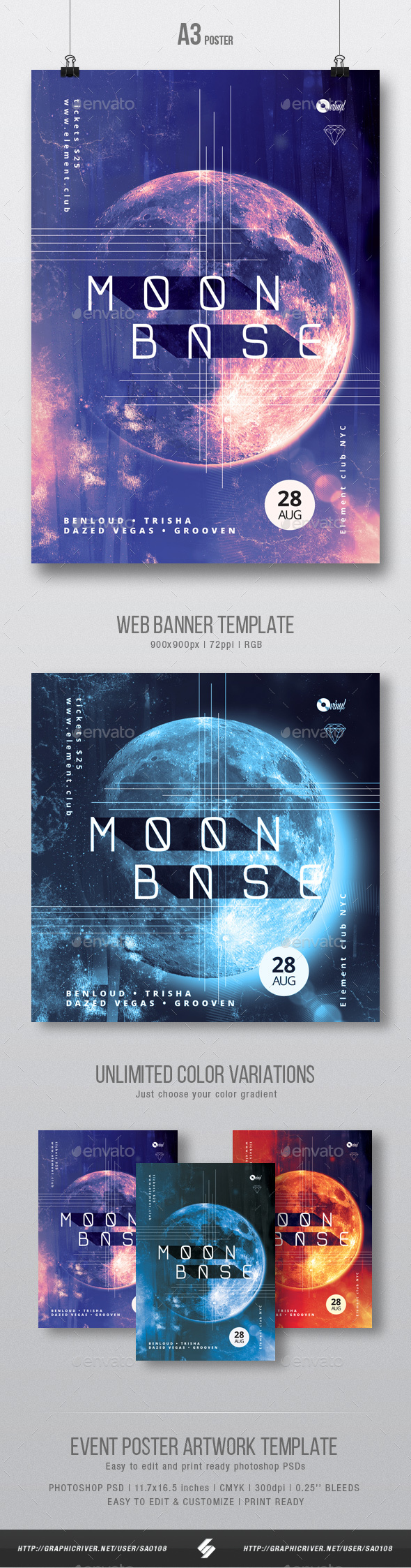Moon Base - Progressive Party Flyer / Poster Artwork Template A3 - Clubs & Parties Events