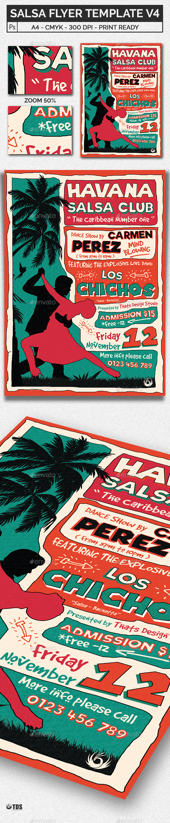Salsa Flyer Template V4 - Events Flyers