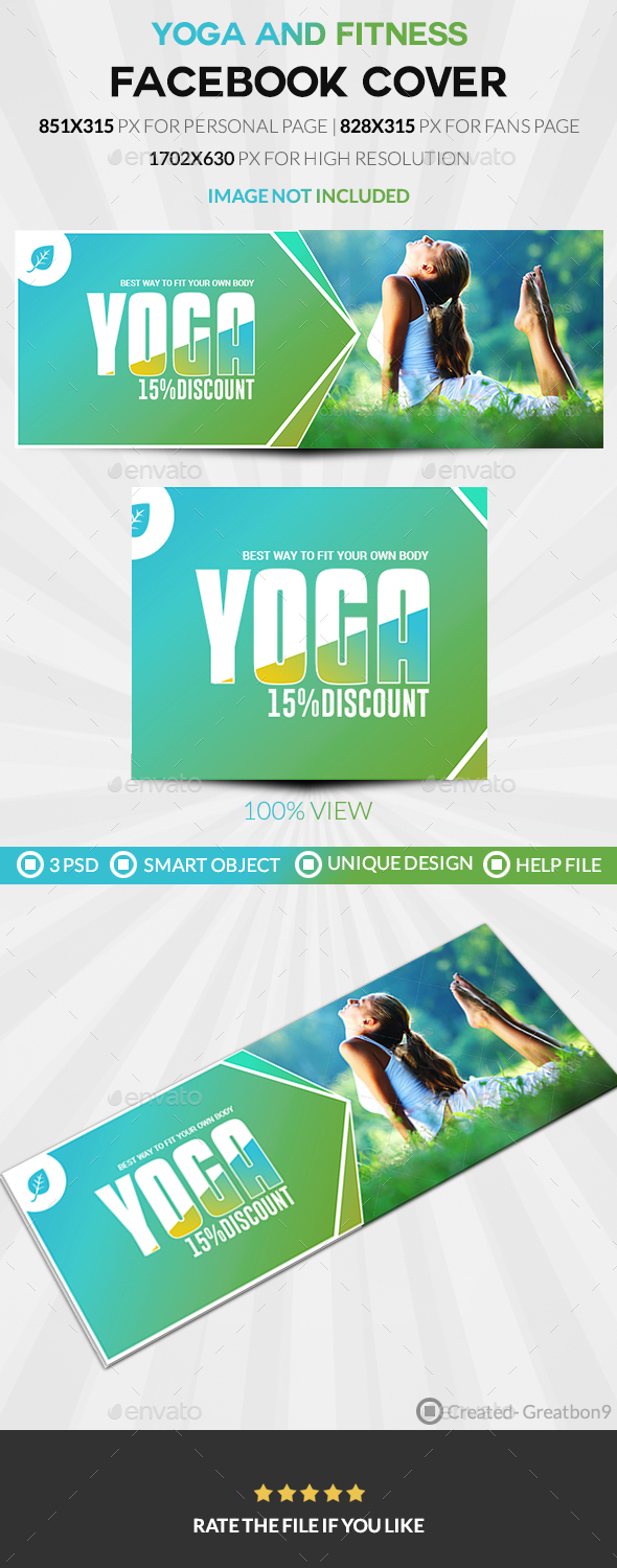 GraphicRiver Yoga And Fitness Facebook Cover 20486226
