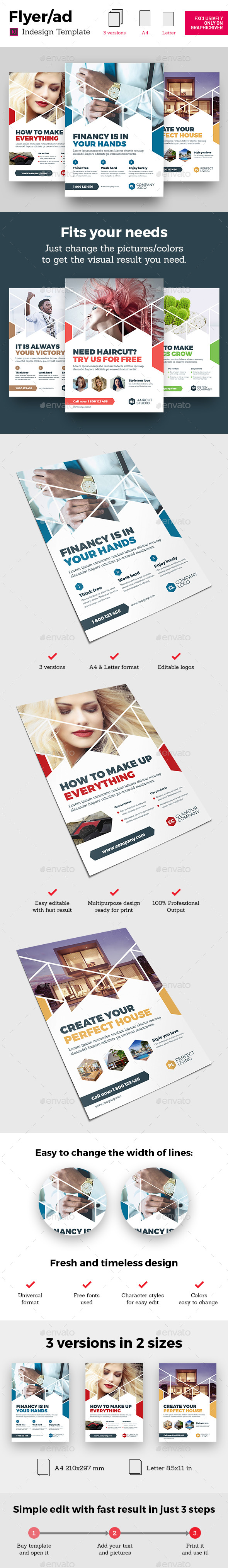 GraphicRiver Corporate Business Universal Flyer ad 3x Template Triangle White Indesign 20486266