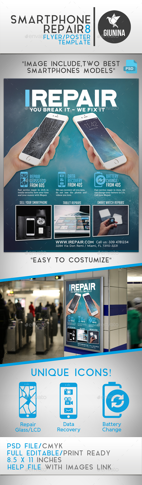 Smartphone Repair 8 Flyer/Poster - Commerce Flyers