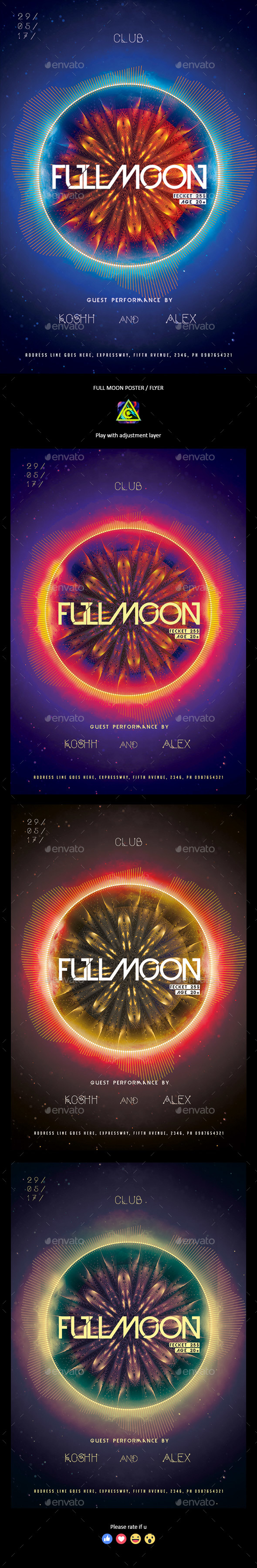 Full Moon Poster / Flyer - Clubs & Parties Events