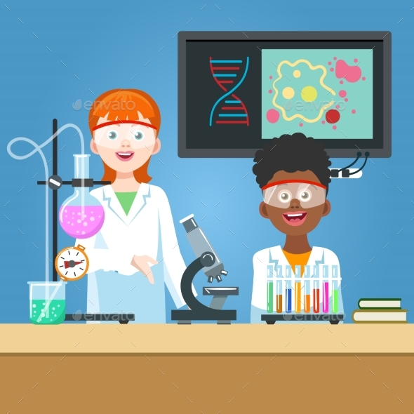 Scientist and Student in Chemistry Laboratory - Technology Conceptual