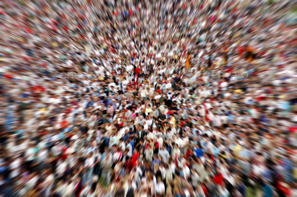 Background of defocused and blurred crowd of people