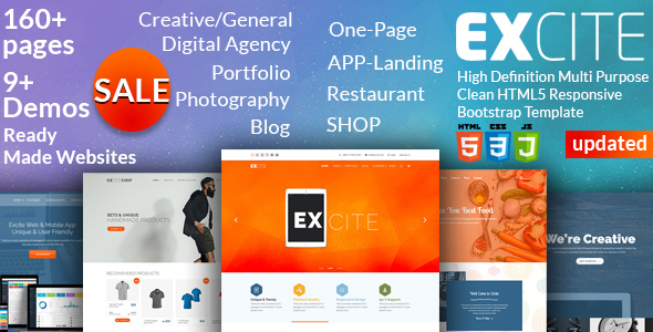 Image of Excite - High Definition Multi-Purpose Clean HTML5 Responsive Bootstrap Template