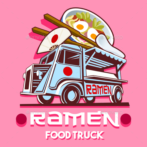 GraphicRiver Food Truck Ramen Restaurant Fast Delivery Service Vector Logo 20486795