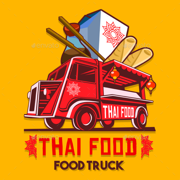 GraphicRiver Food Truck Thai Food Fast Delivery Service Vector Logo 20486824