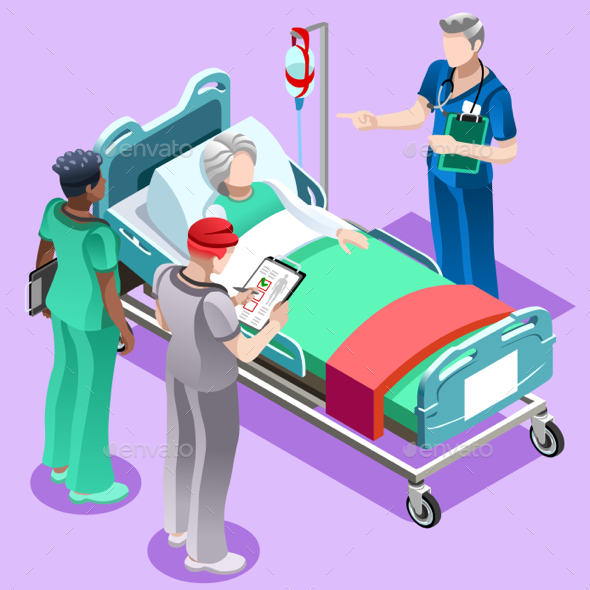 Medical Training Doctor Teaching to Nurse Vector Isometric People - Vectors