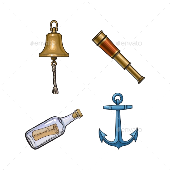 Ship Bell, Anchor, Telescope, Message in Bottle - Miscellaneous Vectors