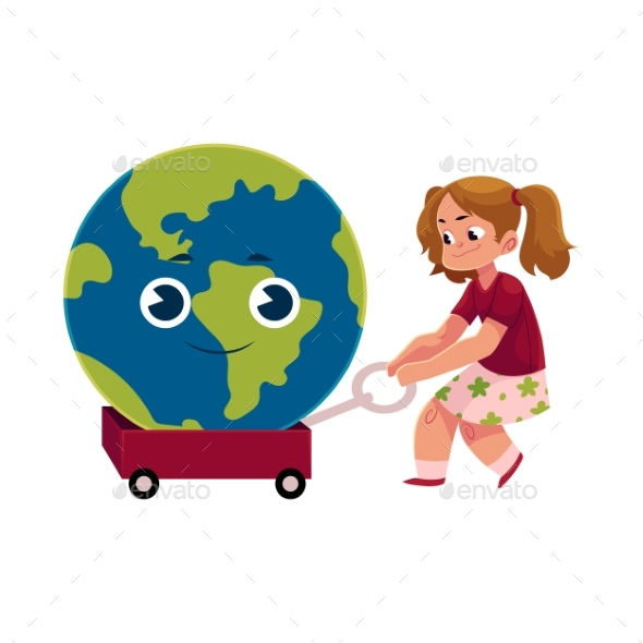 Girl Pulling Cart with Globe, Earth Character - People Characters