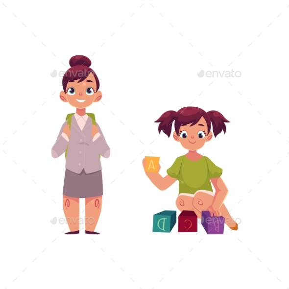 Little Girl Going To School, Playing with Blocks - People Characters