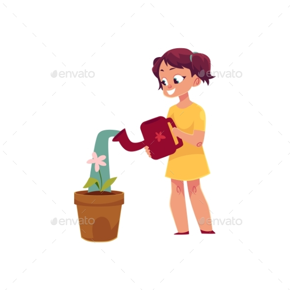Little Girl Watering Houseplant, Pot Flower - People Characters
