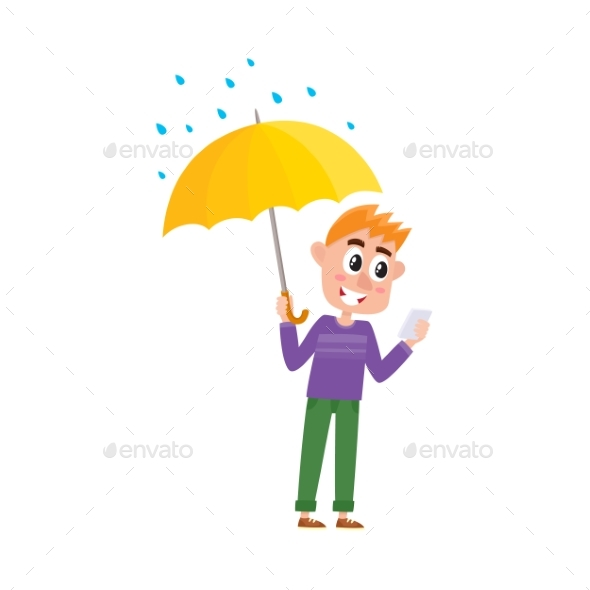 Vector Boy Keeping Umbrella in Hand Under Rain - People Characters