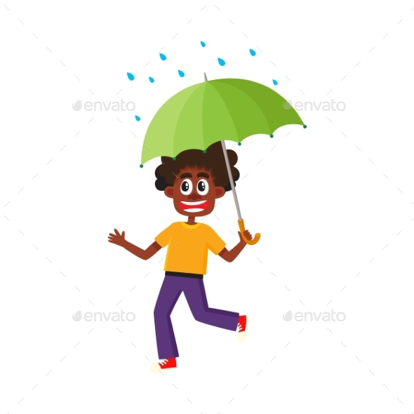 GraphicRiver Vector Boy Keeping Umbrella in Hand Under Rain 20486951