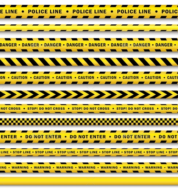 Vector Yellow Black Police Tape Set Isolated - Objects Vectors