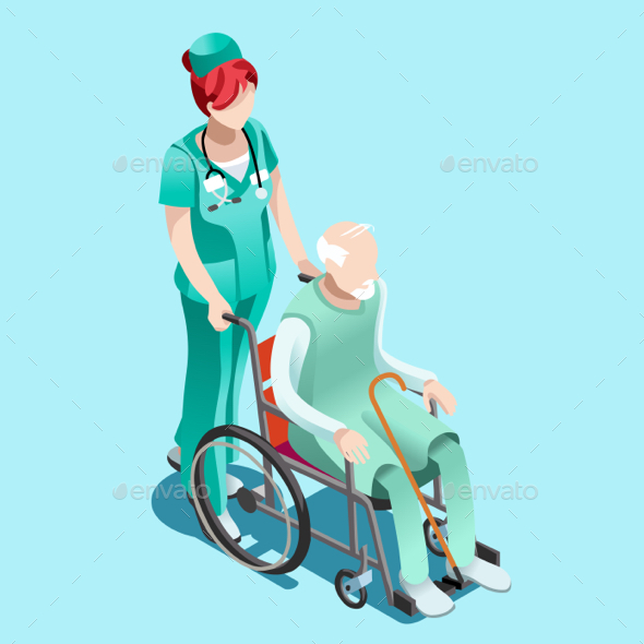 Vector Female Nurse and Patient in Wheelchair Isometric People - Vectors