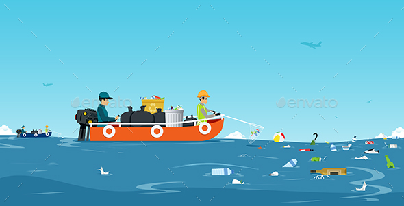 GraphicRiver Sea garbage boat 20487052
