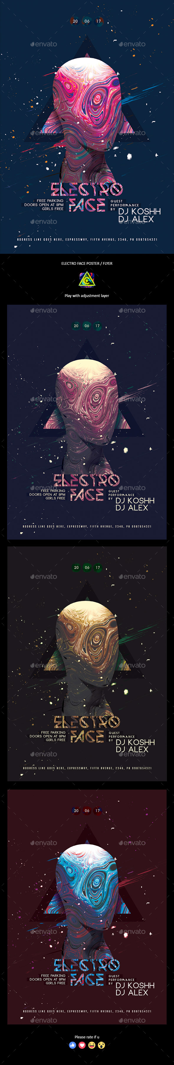 Electro Face Flyer / Poster - Clubs & Parties Events