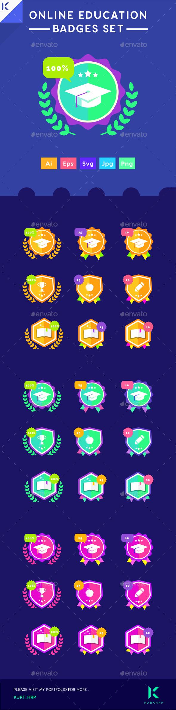 GraphicRiver Badges Set Online Education Achievement Level Badges for e-learning website 20478334