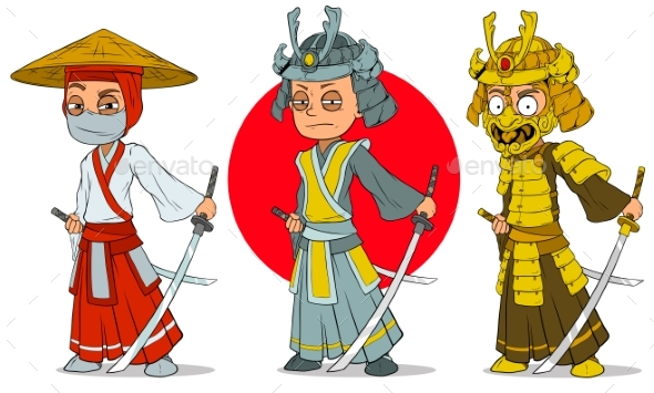Cartoon Ninja Samurai with Sword Characters Set - Miscellaneous Characters