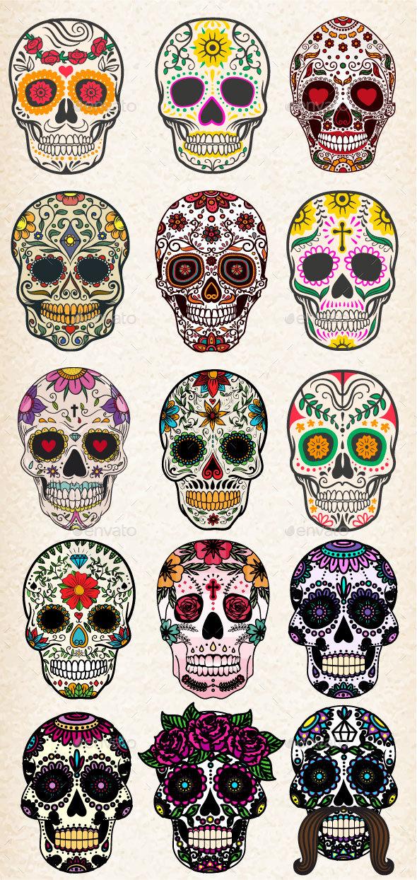 GraphicRiver Sugar Skulls Vector Bundle 20478893